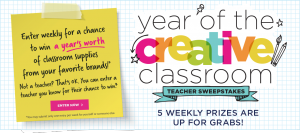 Michaels – Year of Creative Classroom – Win 1 of 5 prize packs valued at up to $1,000