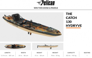 Paddling.com – Pelican – Win a Symbiosa Angler Kayak Paddle & Pelican Catch 130 Hydryve valued at $1,369