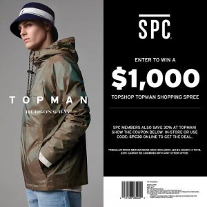 SPC Card – Win a $1,000 Shopping Spree at Topshop/Topman