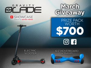 Showcase – Woobox Gravity Blade – Win a Gravity Blade Scooter and a Gravity Blade 6.5″ Electric Hoverboard with Bluetooth Speaker valued at $700 CDN