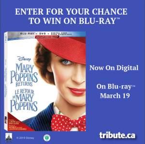 Tribute Publishing Kids – Win 1 of 5 copies of Mary Poppins Returns on Blu-ray valued at $29.99 CDN each