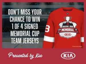 Kia Canada – Win 1 of 4 signed Memorial Cup jerseys valued at $250 each