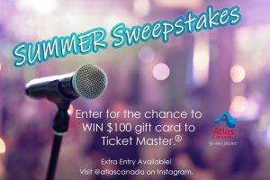 Atlas Canada – Win a $100 Ticket Master gift card