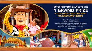 Disney Online – Win a trip for 4 for 4 days to Disneyland Resort in Anaheim, CA