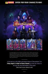 Disney Channel – Descendants 3 – Win 1 of 3 prize packs