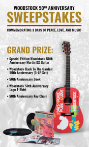 Woodstock General Store – Win a grand prize of a special edition Woodstock Guitar OR 1 of 2 minor prizes