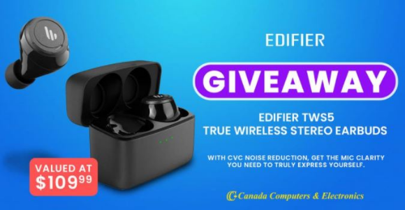 Canada Computers Giveaway – Win a pair of Edifier TWS5 True Wireless Stereo Earbuds