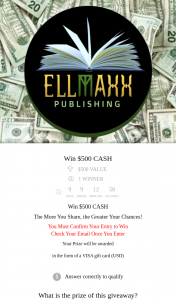 Ellmax Publishing – Win $500 Cash (newsletter sub)