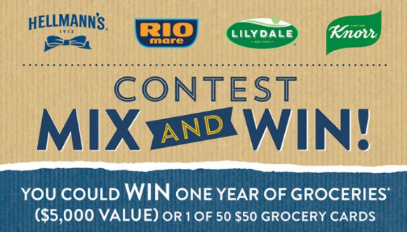 Hellmanns Mix and Win  – Win one year of groceries and more at mixandwincontest.ca