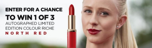 L'Oréal Paris  – Win 1 of 3 Riche North Red lipsticks autographed by Canadian Olympic athlete Sage Watson