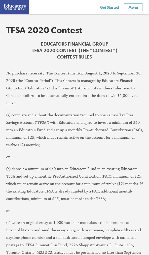 TFSA 2020 Contest – Win $1000