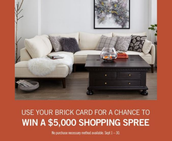 The Brick Card 2020 – Win 1 of 4 $5,000 shopping sprees