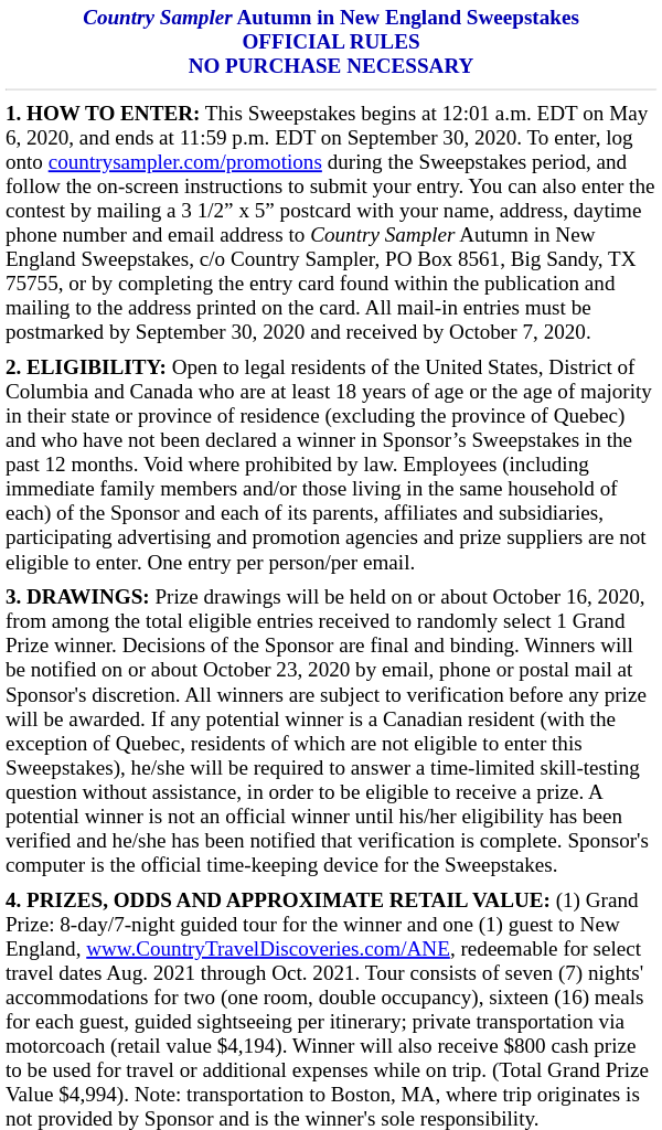 Win Country Sampler 8 Day Trip through New England in Fall 2021 Must make account Contest
