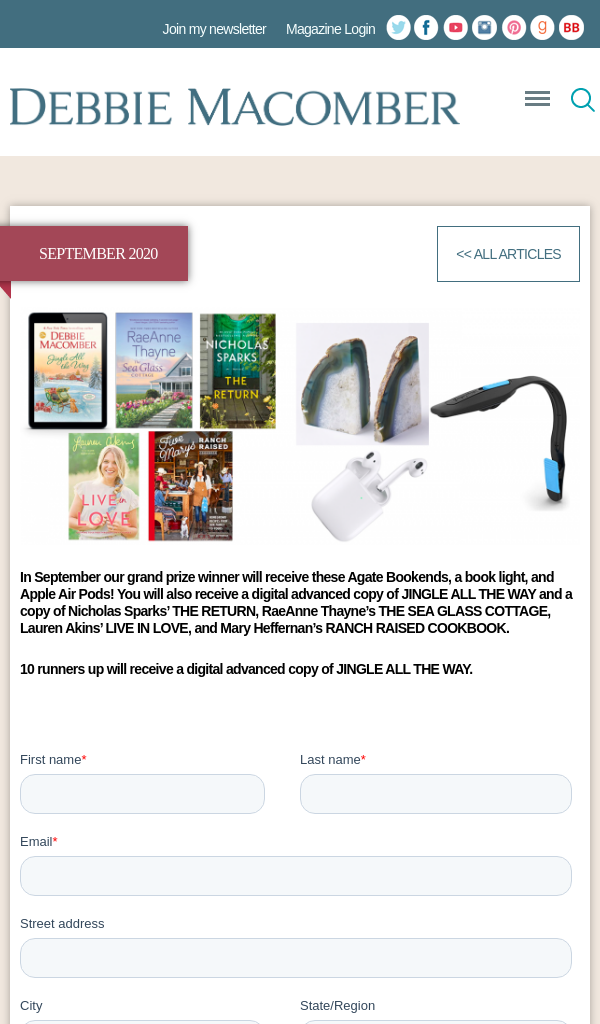 Win Debbie Macomber September Contest Bookends and Apple Air Pods