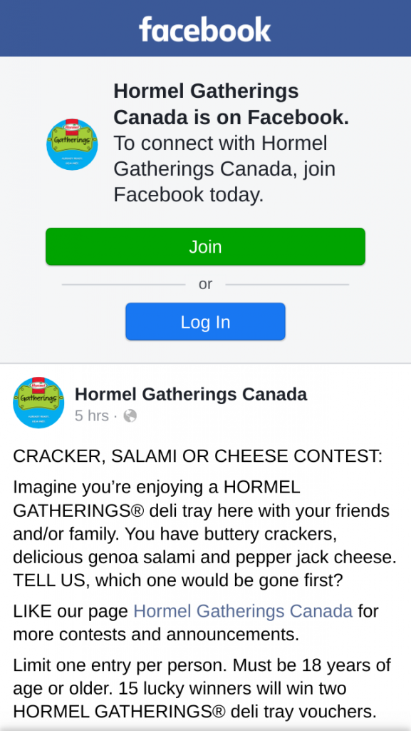 Win Hormel Gatherings Canada Cracker Salami or Cheese Contest