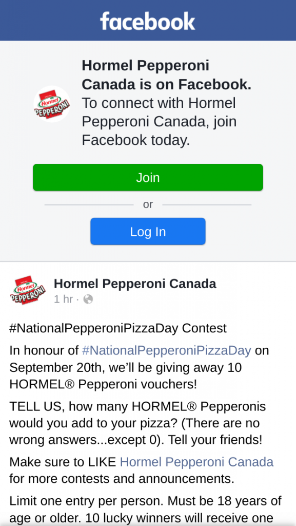 Win Hormel Pepperoni Canada National Pizza Day Contest