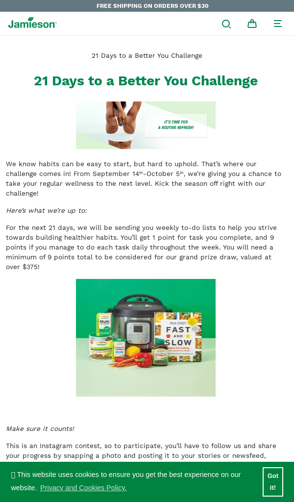Win Jamieson Vitamins 21 Days to a Better You (Instagram Contest