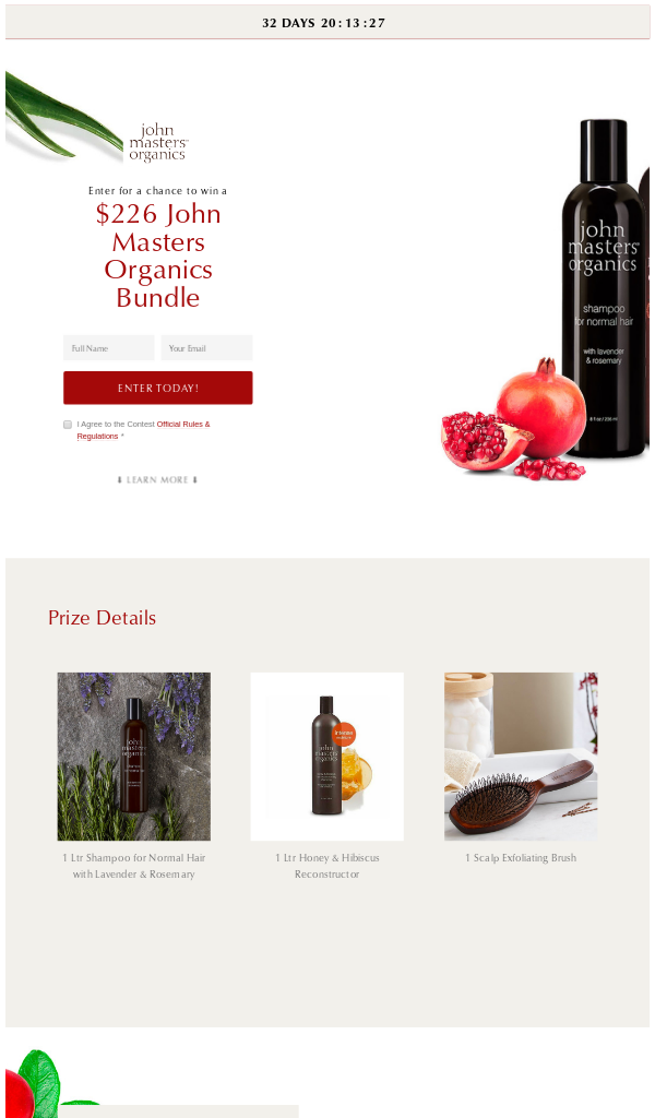 Win John Masters Organics hair care products (18+) Contest