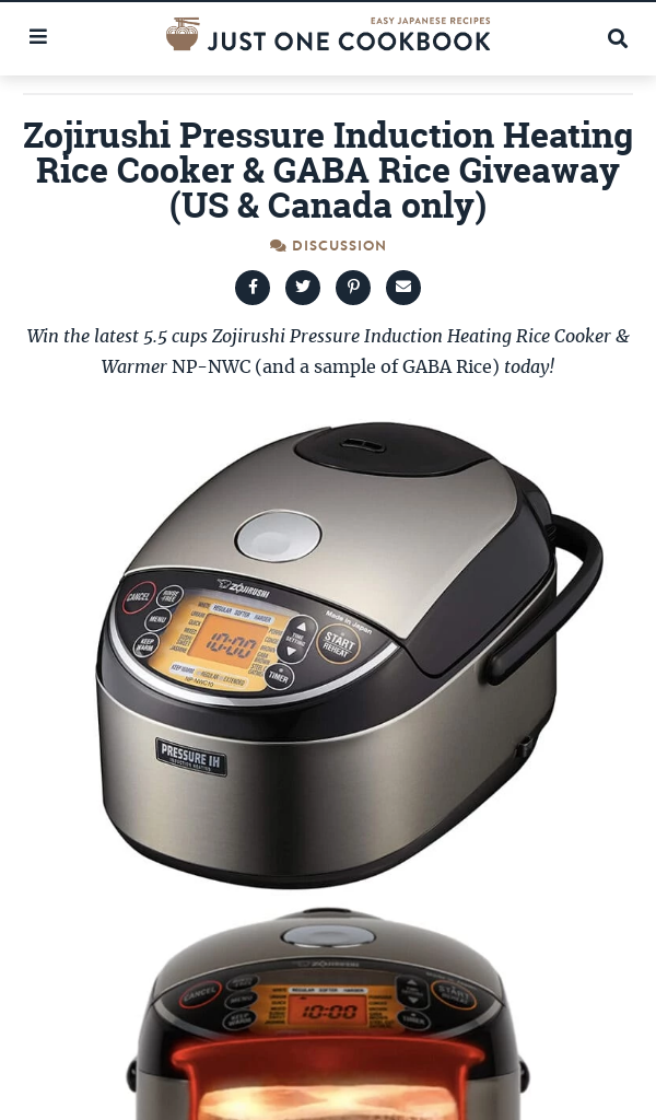 Win Just One Cookbook Zojirushi Rice Cooker & GABA Rice Giveaway (newsletter