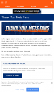 Win New York Mets Thank You Mets Fans Sweepstakes
