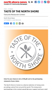 Win North Shore News Taste of the North Shore Favourite Restaurant Contest (Vancouver Best)