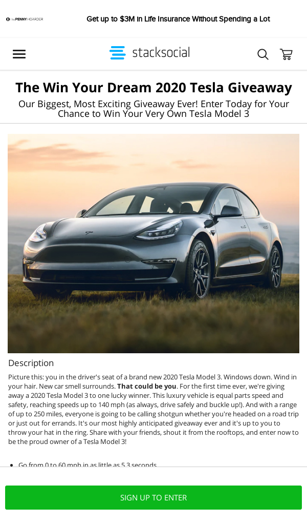Win PM StackCommerce Tesla Car Giveaway