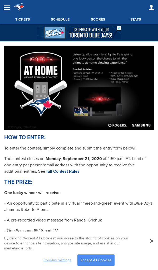 Win Rogers/Blue Jays Ignite TV Home Contest