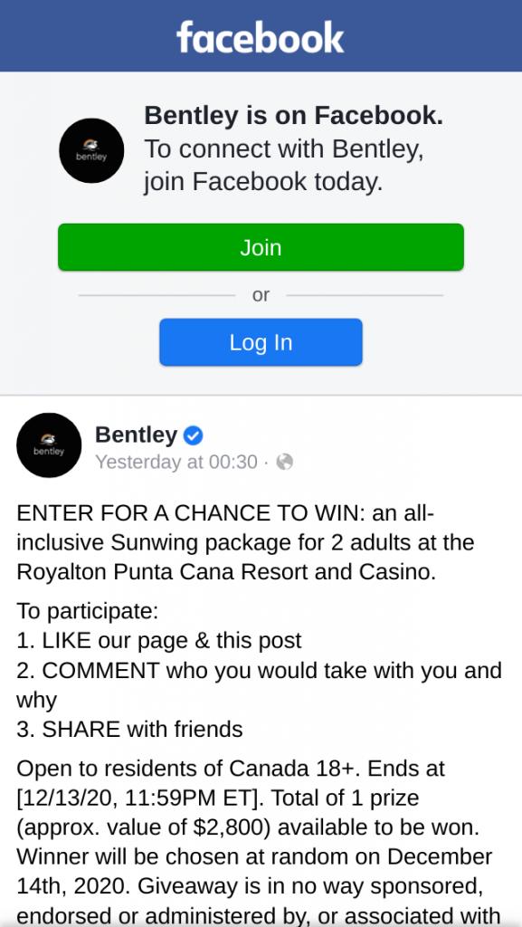 Bentley + Sunwing – Win a $2.8K CAD Trip for 2 Punta Cana Resort
