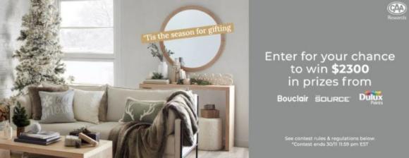 Bouclair Holiday 2020 – Win $2300 Holiday Makeover at bouclair.com/HolidayHome