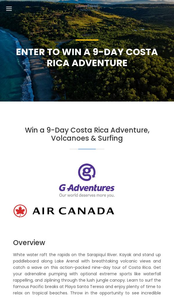 Glamoy Travel – Win a 9-Day Costa Rica Adventure (18+