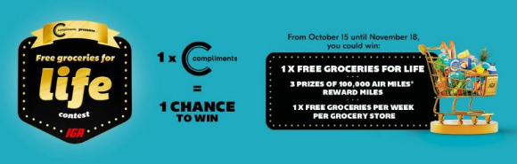 IGA Free Groceries for Life  – Buy Compliments products and win free groceries and Air Miles