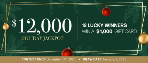 Linen Chest Holiday Jackpot 2020 – Win 1 of 12 $1,000 gift cards