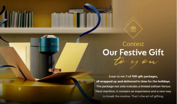 Nespresso Festive  – Win 1 of 100 gifts packages containing a limited edition Vertuo Next machine