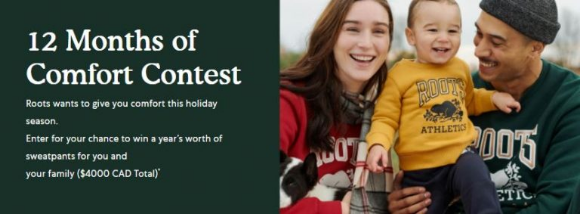 Roots 12 Months of Comfort  – Win a year's worth of sweatpants for you and your family