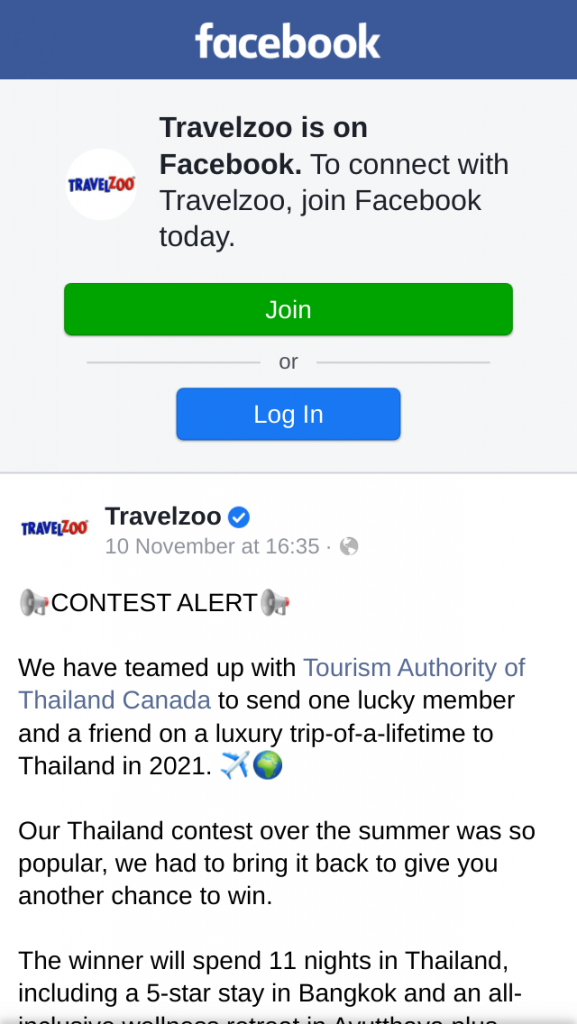 Travelzoo – Win an $8K CAD Trip for Two to Thailand in 2021 Contest