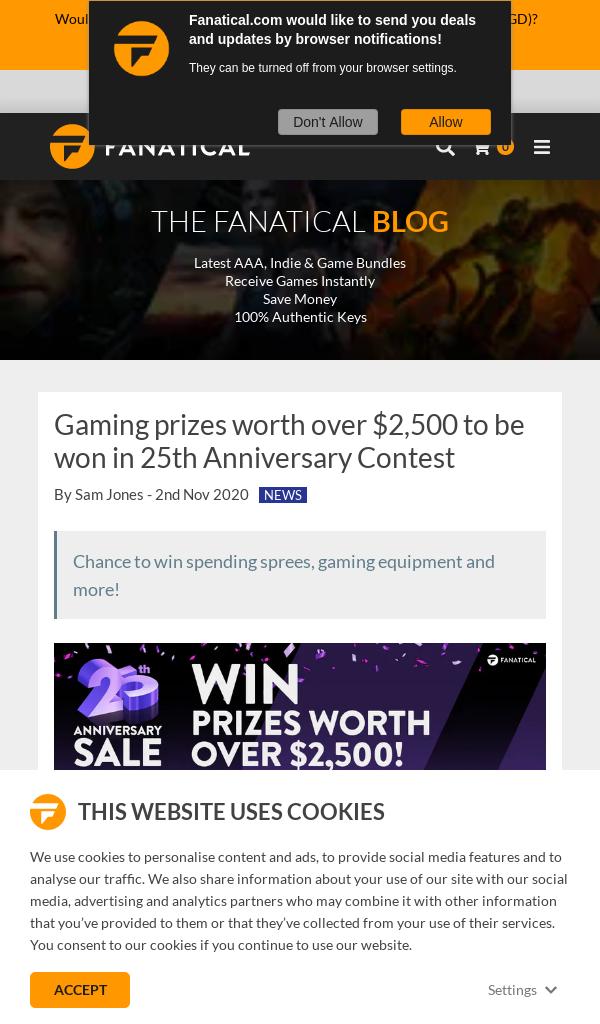 Win Fanatical 25th Anniversary Contest