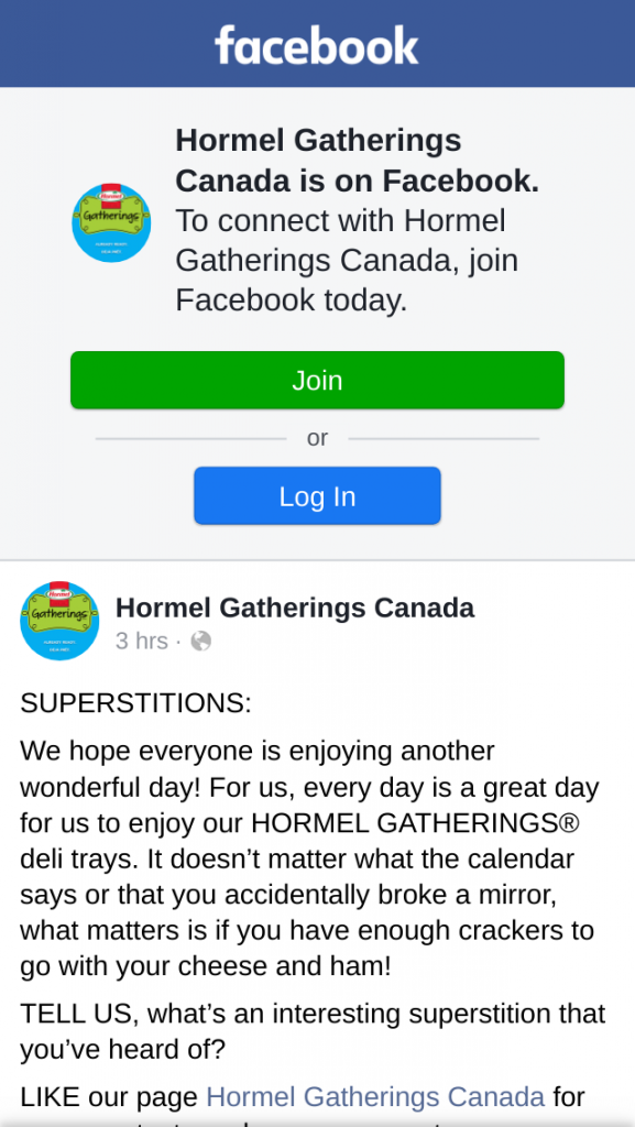 Win Hormel Gatherings Canada Superstitions Contest