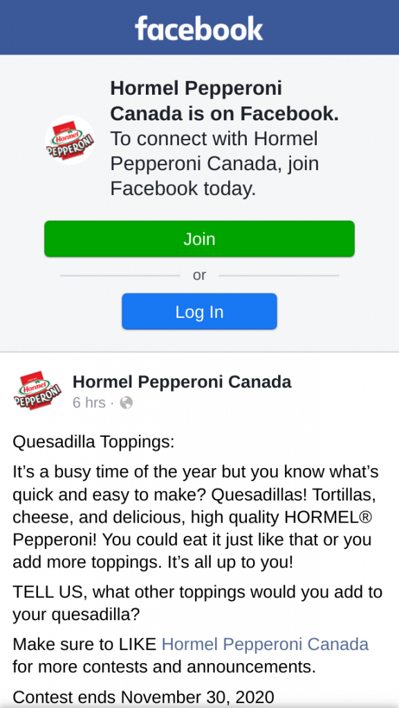 Win Hormel Pepperoni Canada Quesadilla Toppings Contest