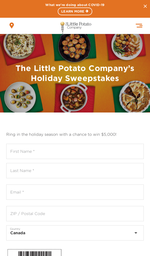 Win Little Potato Company Holiday Sweepstakes