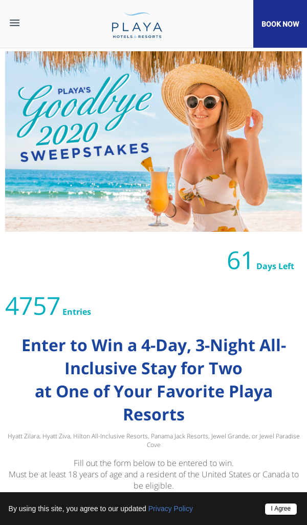 Win Playa Resorts Goodbye 2020 Contest