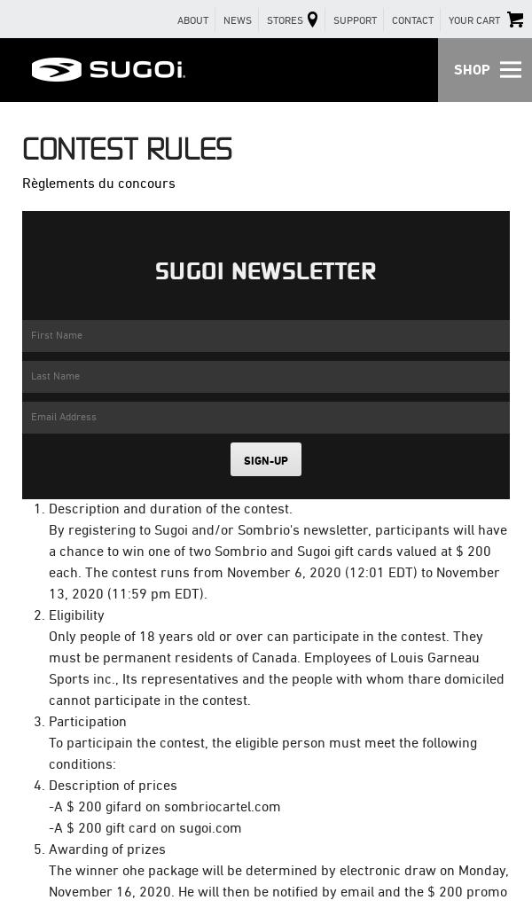 Win Sugoi $200 Gift Card 18 Contest
