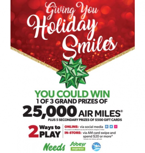 Needs Holiday 2020 – Win $500 Sobeys Gift Cards or 25,000 AIR MILES Reward Miles