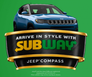Subway Curbside  – Win a 2021 Jeep Compass at subwaycurbside.ca