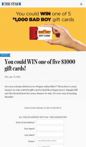 Win AM Wonderlist Toronto Star Subscriber Contest Subscribers only