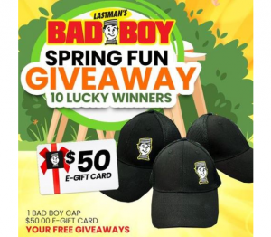 Lastman's Bad Boy Giveaway – Win 1 of 10 $50 gift cards and Bad Boy Caps