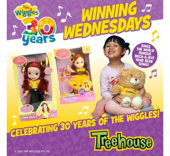 Treehouse The Wiggles  – Win an Emma 15″ doll, Emma Ballet Doll and a Rock a Bye Your Bear