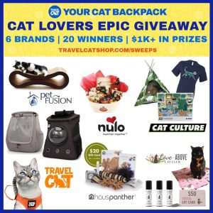 Your Cat Backpack – Win 1 of 20 prizes for your cats