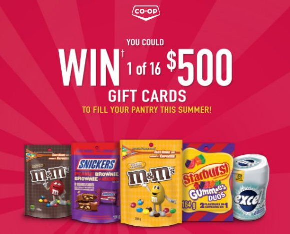CO-OP M&Ms 2021 – Win 1 of 16 $500 gift cards to fill your pantry this summer