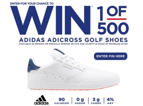 Michelob Ultra Adidas Golf Shoe 2021 – Enter your PIN and win 1 of 500 Adidas Adicross Golf Shoes