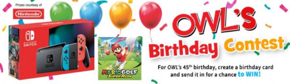 OWL's 45th Birthday  – Win a Nintendo Switch Console and a Mario Golf game